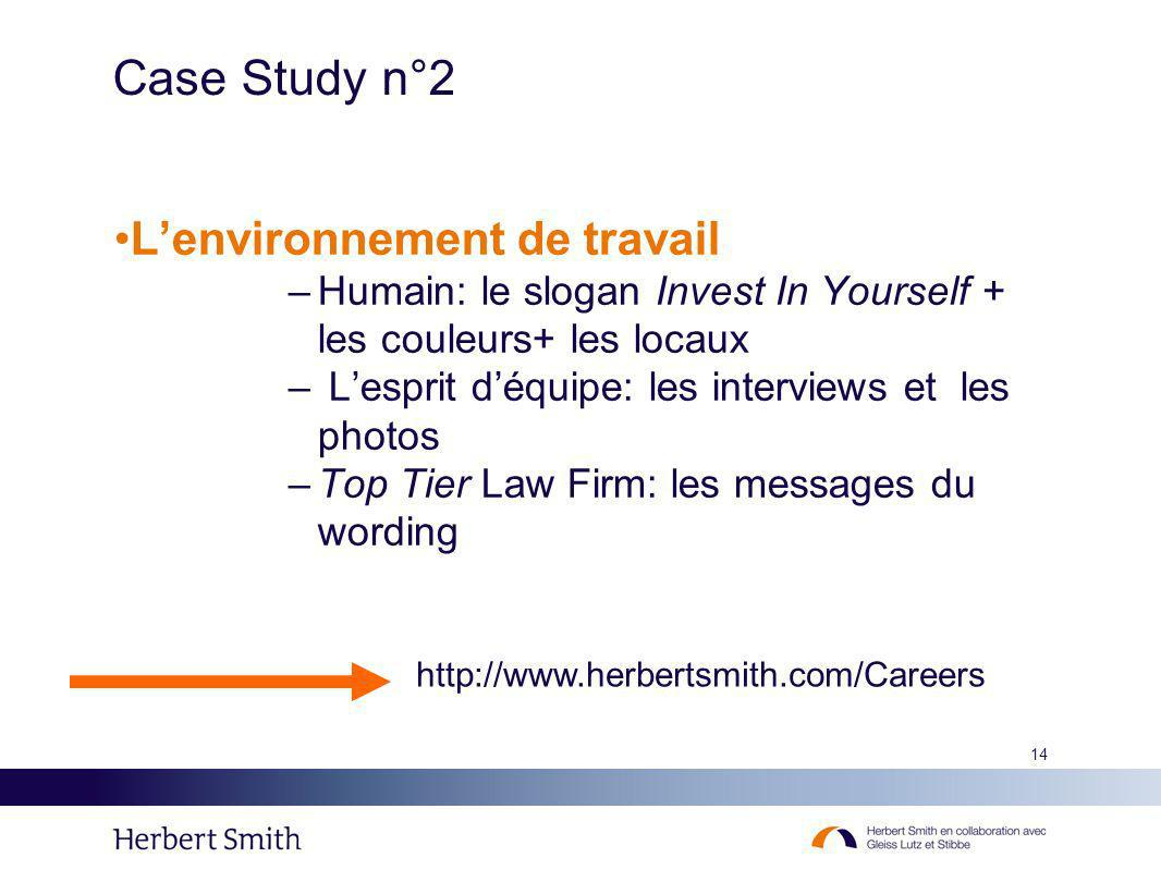Case Study n°2 L'environnement de travail