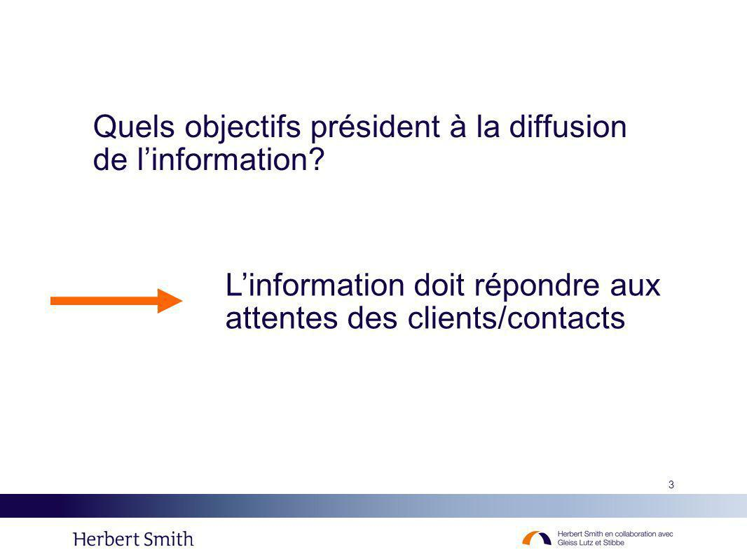 Quels objectifs président à la diffusion de l'information