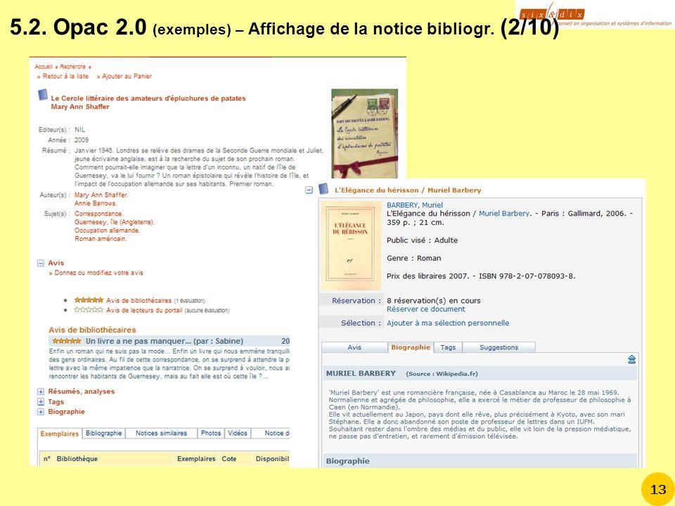 5.2. Opac 2.0 (exemples) – Affichage de la notice bibliogr. (2/10)