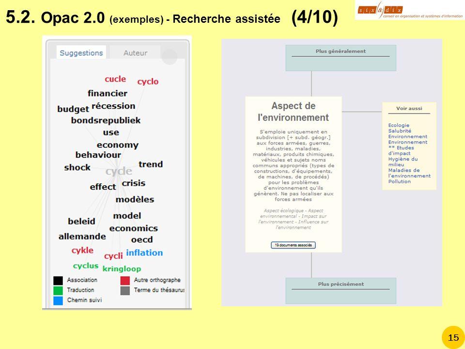 5.2. Opac 2.0 (exemples) - Recherche assistée (4/10)