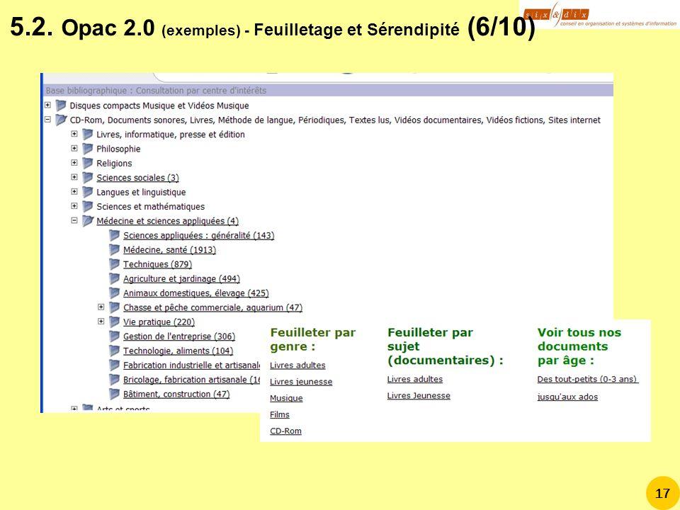 5.2. Opac 2.0 (exemples) - Feuilletage et Sérendipité (6/10)
