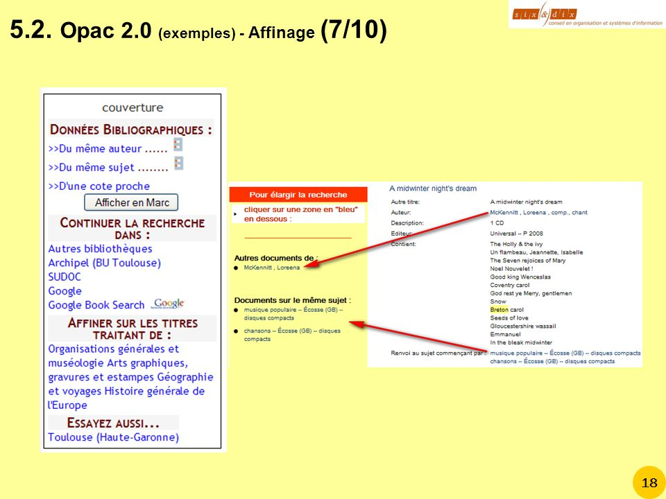 5.2. Opac 2.0 (exemples) - Affinage (7/10)
