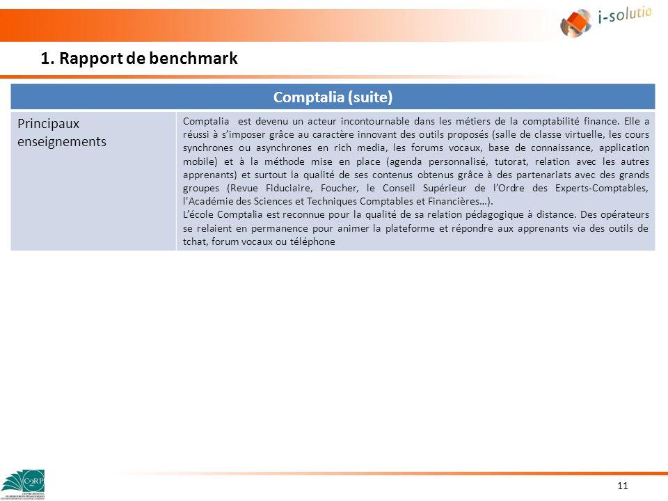 1. Rapport de benchmark Comptalia (suite) Principaux enseignements