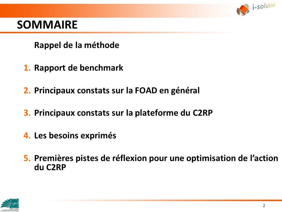 SOMMAIRE Rappel de la méthode Rapport de benchmark