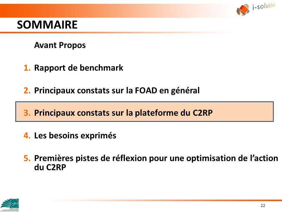 SOMMAIRE Avant Propos Rapport de benchmark