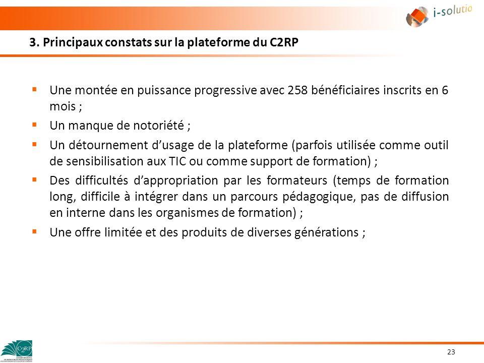 3. Principaux constats sur la plateforme du C2RP