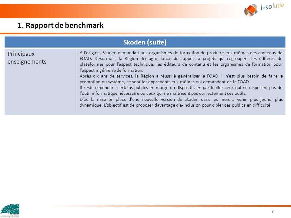 1. Rapport de benchmark Skoden (suite) Principaux enseignements