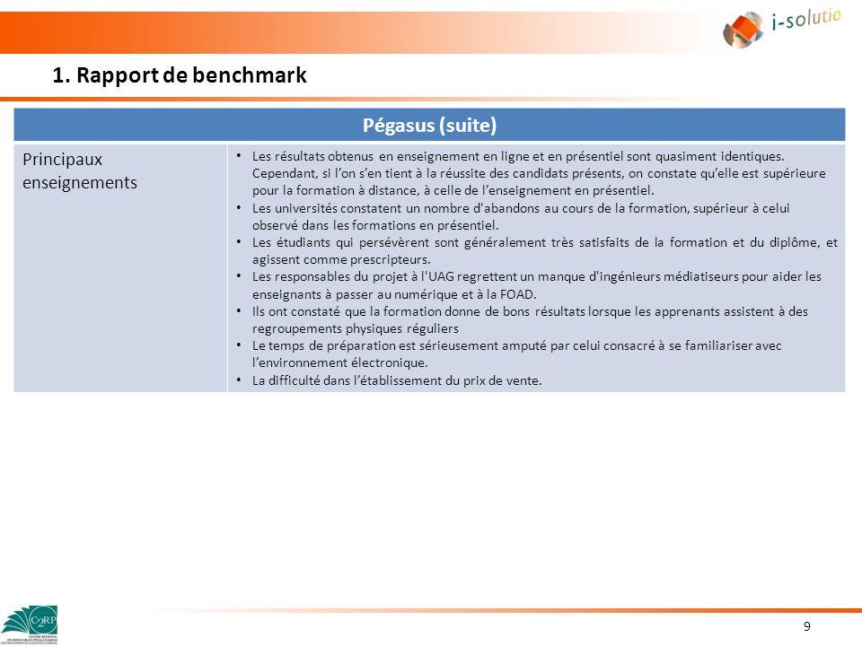 1. Rapport de benchmark Pégasus (suite) Principaux enseignements