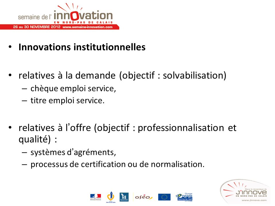 Innovations institutionnelles