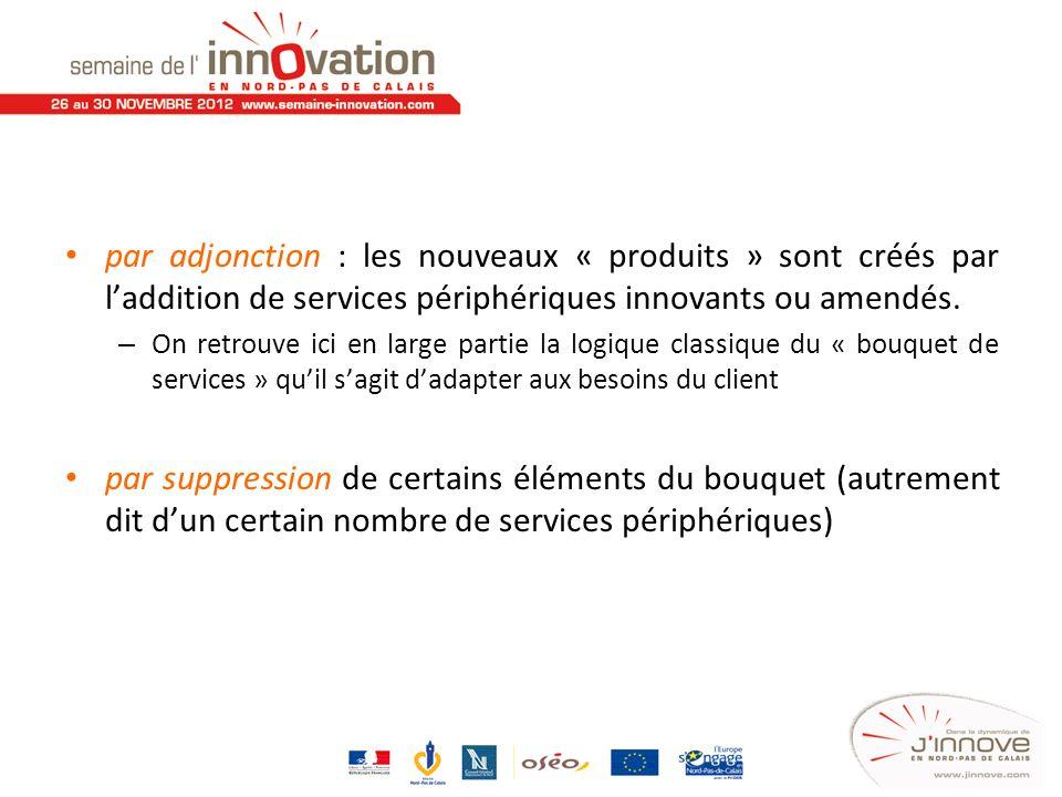 par adjonction : les nouveaux « produits » sont créés par l'addition de services périphériques innovants ou amendés.