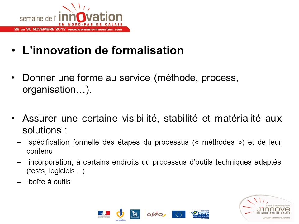 L'innovation de formalisation