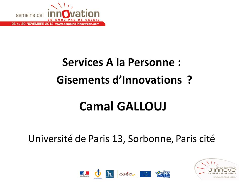 Services A la Personne : Gisements d'Innovations