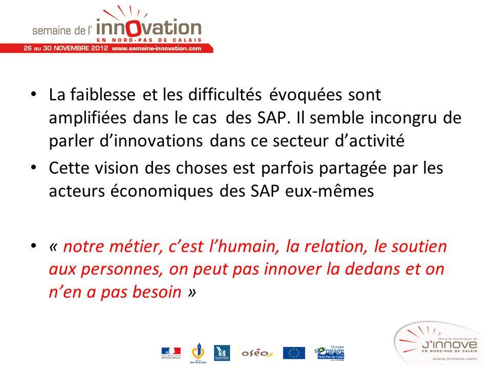 La faiblesse et les difficultés évoquées sont amplifiées dans le cas des SAP. Il semble incongru de parler d'innovations dans ce secteur d'activité