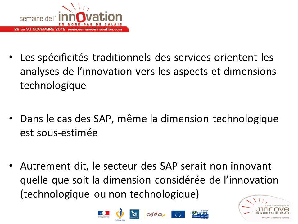 Les spécificités traditionnels des services orientent les analyses de l'innovation vers les aspects et dimensions technologique