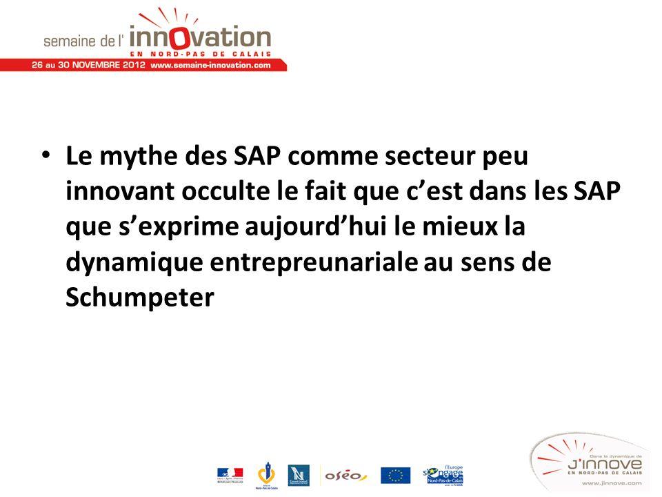 Le mythe des SAP comme secteur peu innovant occulte le fait que c'est dans les SAP que s'exprime aujourd'hui le mieux la dynamique entrepreunariale au sens de Schumpeter