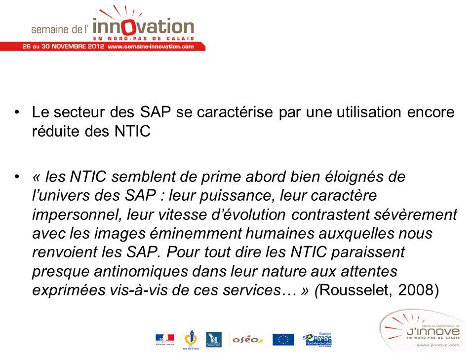 Le secteur des SAP se caractérise par une utilisation encore réduite des NTIC