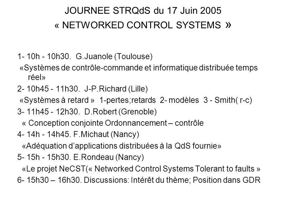 JOURNEE STRQdS du 17 Juin 2005 « NETWORKED CONTROL SYSTEMS »