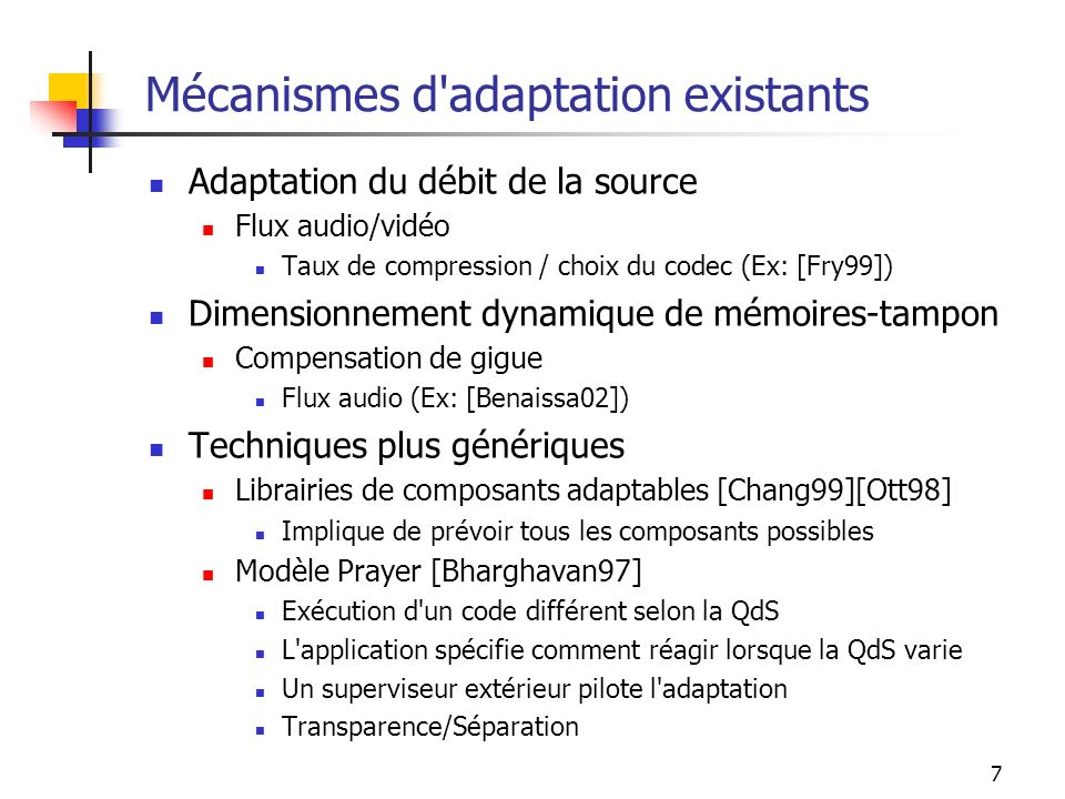 Mécanismes d adaptation existants