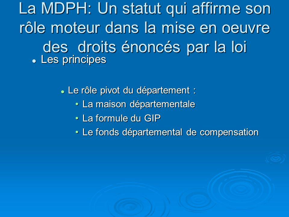 La MDPH: Un statut qui affirme son rôle moteur dans la mise en oeuvre des droits énoncés par la loi