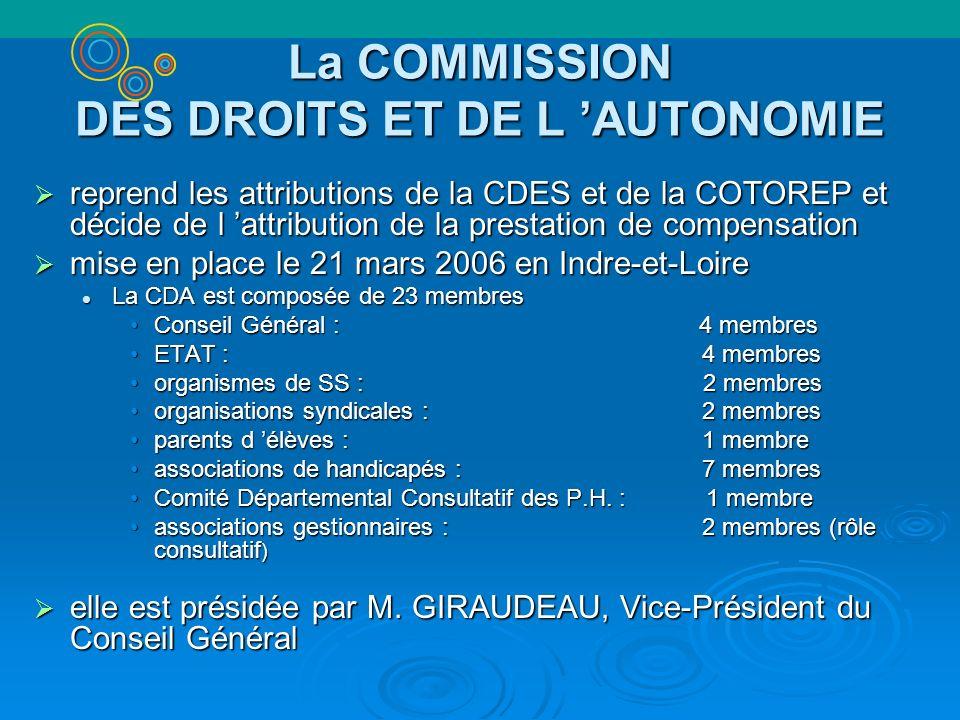 La COMMISSION DES DROITS ET DE L 'AUTONOMIE