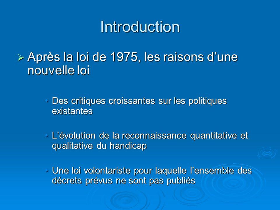 Introduction Après la loi de 1975, les raisons d'une nouvelle loi