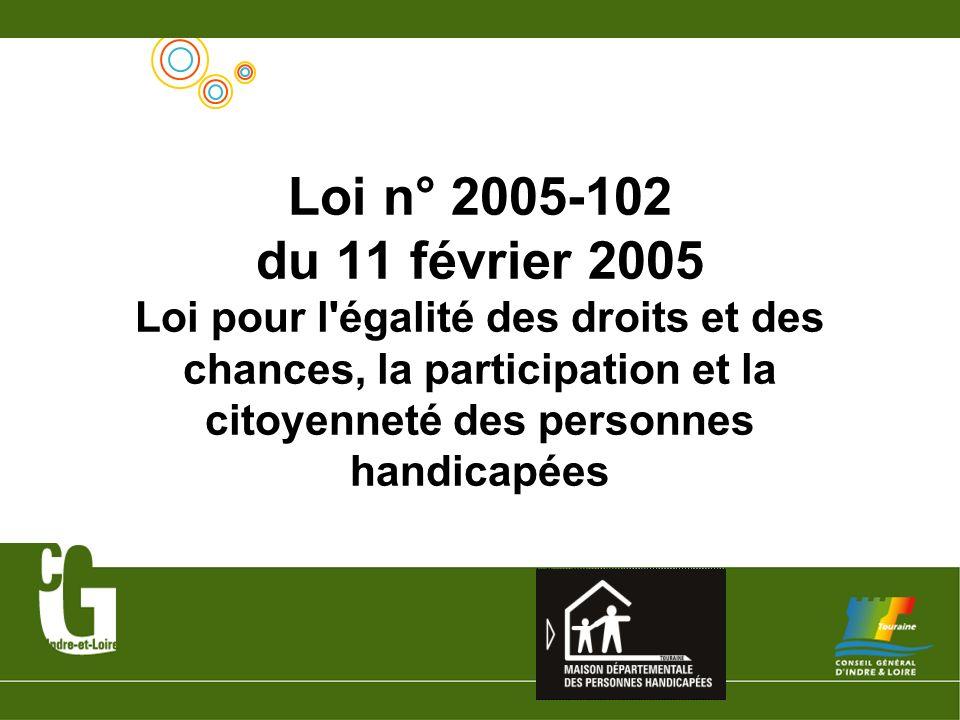Loi n° 2005-102 du 11 février 2005 Loi pour l égalité des droits et des chances, la participation et la citoyenneté des personnes handicapées