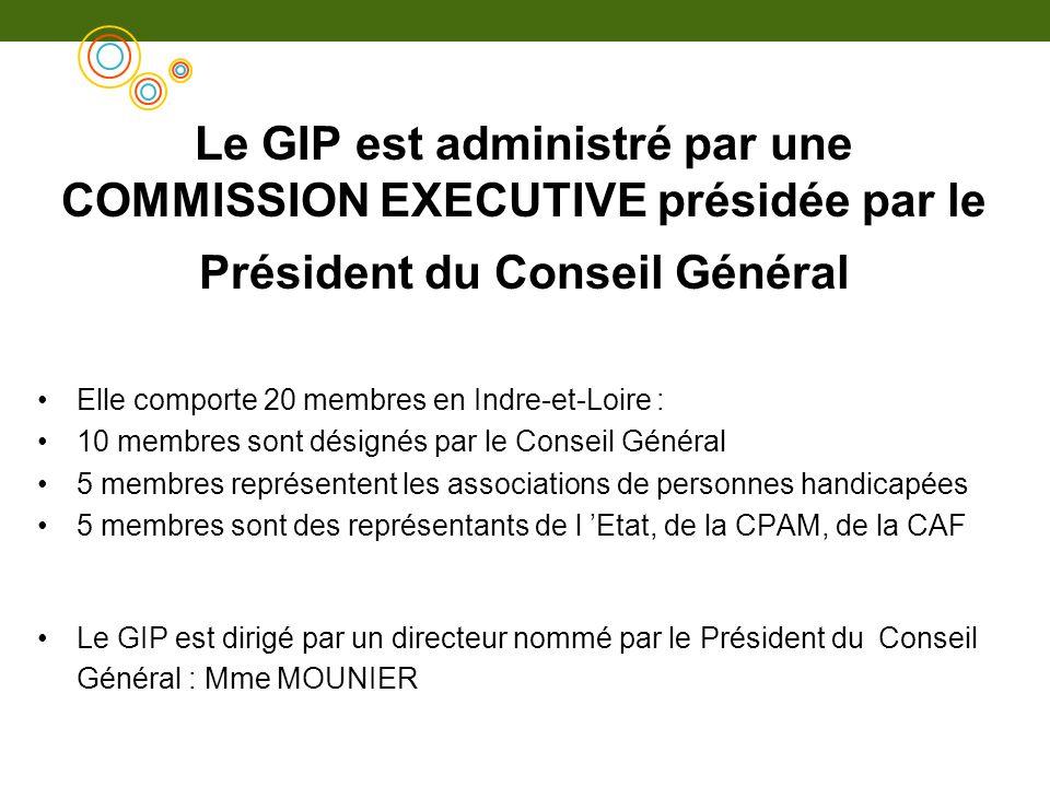 Le GIP est administré par une COMMISSION EXECUTIVE présidée par le Président du Conseil Général