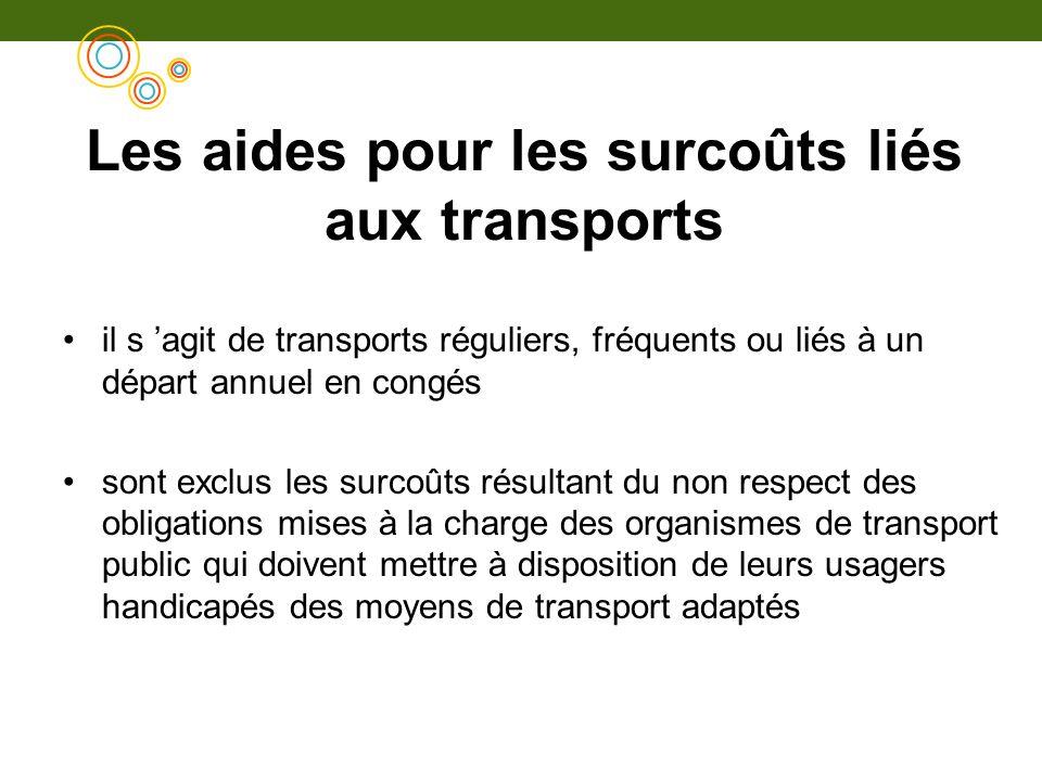 Les aides pour les surcoûts liés aux transports