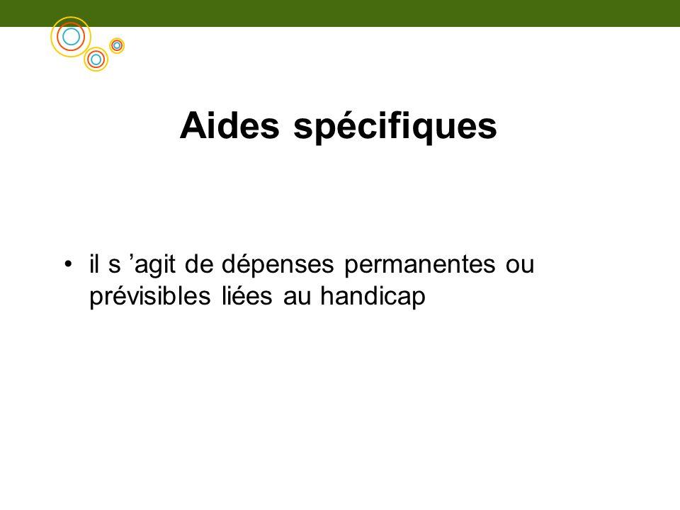 Aides spécifiques il s 'agit de dépenses permanentes ou prévisibles liées au handicap