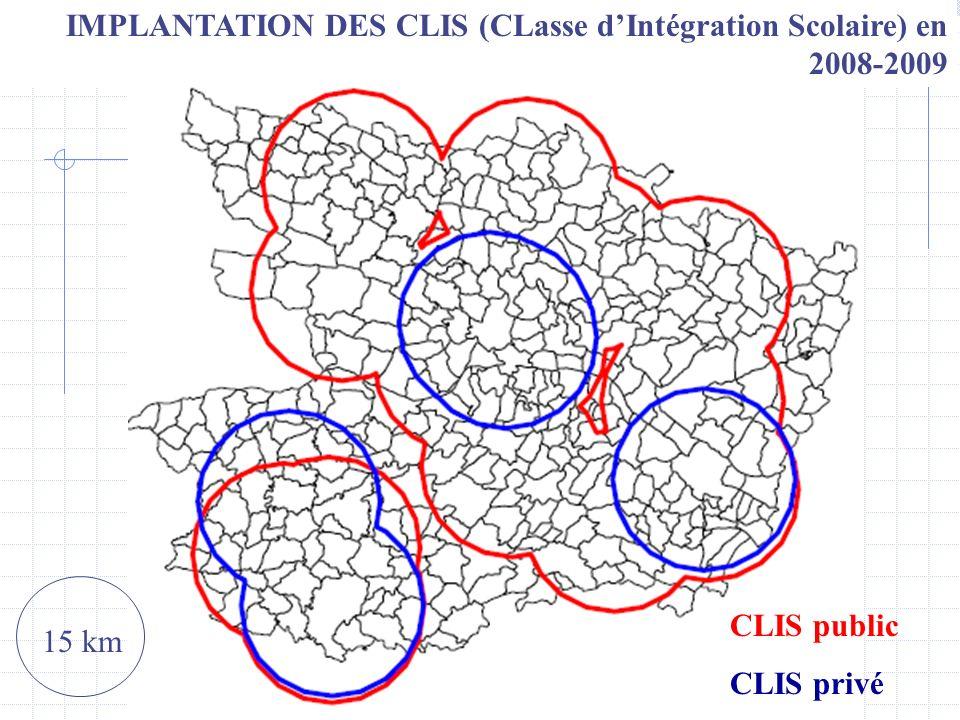 IMPLANTATION DES CLIS (CLasse d'Intégration Scolaire) en 2008-2009