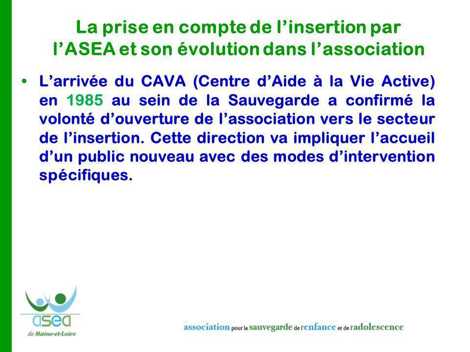 La prise en compte de l'insertion par l'ASEA et son évolution dans l'association