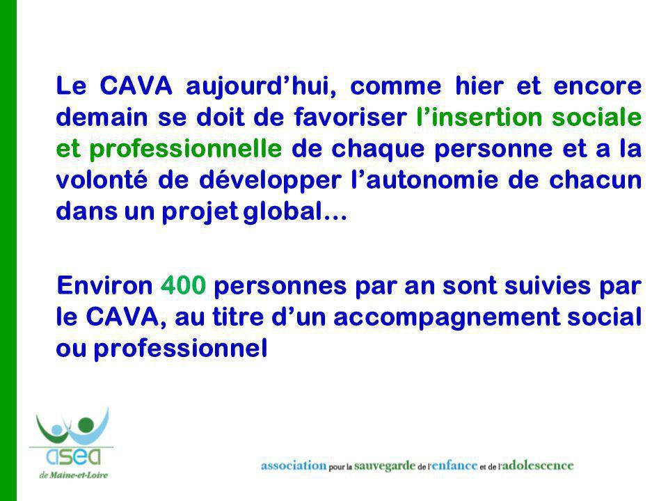 Le CAVA aujourd'hui, comme hier et encore demain se doit de favoriser l'insertion sociale et professionnelle de chaque personne et a la volonté de développer l'autonomie de chacun dans un projet global…