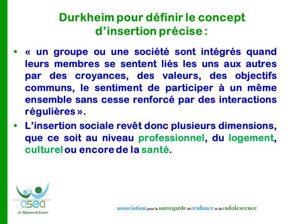 Durkheim pour définir le concept d'insertion précise :