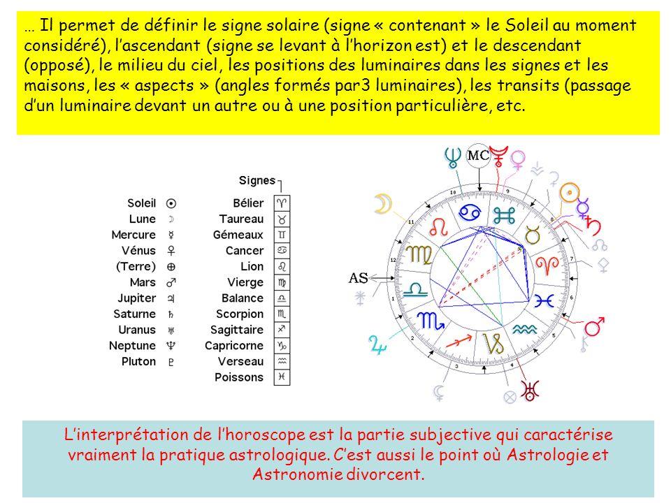 … Il permet de définir le signe solaire (signe « contenant » le Soleil au moment considéré), l'ascendant (signe se levant à l'horizon est) et le descendant (opposé), le milieu du ciel, les positions des luminaires dans les signes et les maisons, les « aspects » (angles formés par3 luminaires), les transits (passage d'un luminaire devant un autre ou à une position particulière, etc.