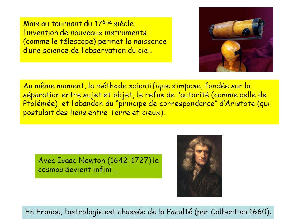 Avec Isaac Newton (1642–1727) le cosmos devient infini …