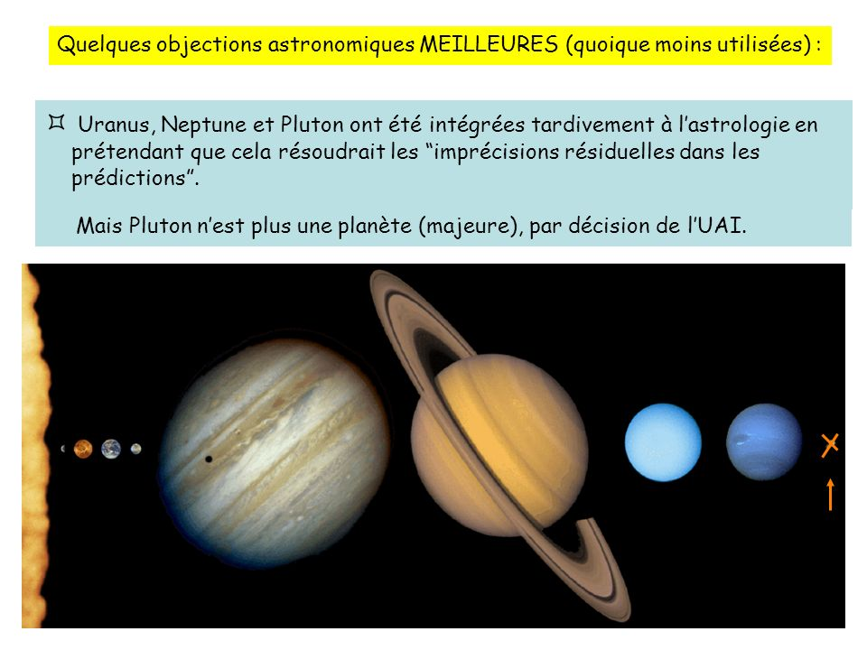 Quelques objections astronomiques MEILLEURES (quoique moins utilisées) :
