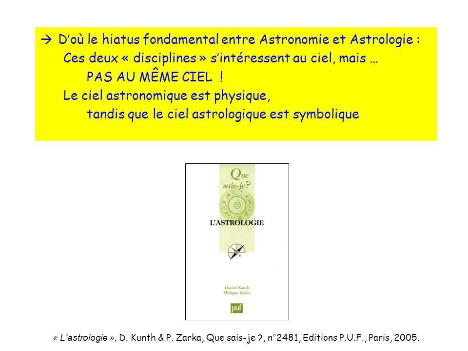 D'où le hiatus fondamental entre Astronomie et Astrologie :