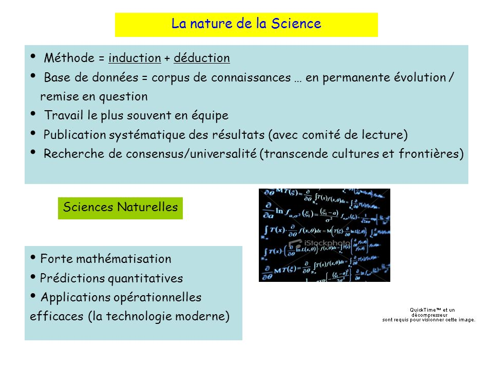 La nature de la Science Méthode = induction + déduction