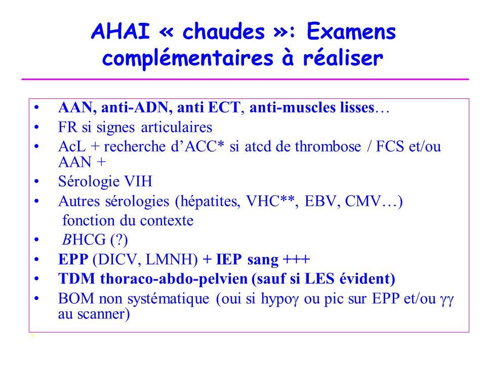 AHAI « chaudes »: Examens complémentaires à réaliser