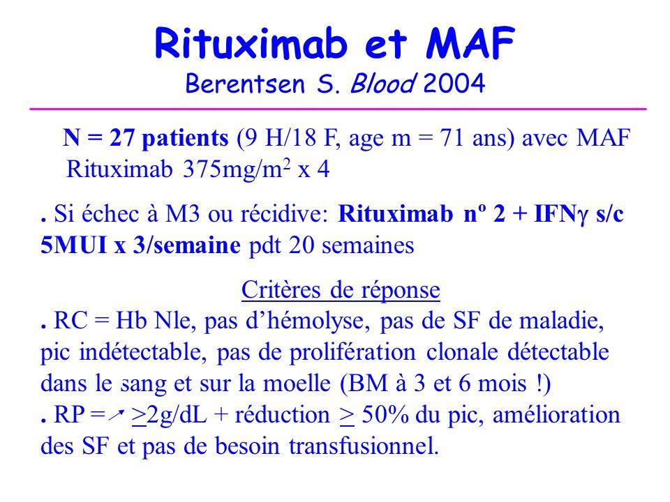 Rituximab et MAF Berentsen S. Blood 2004
