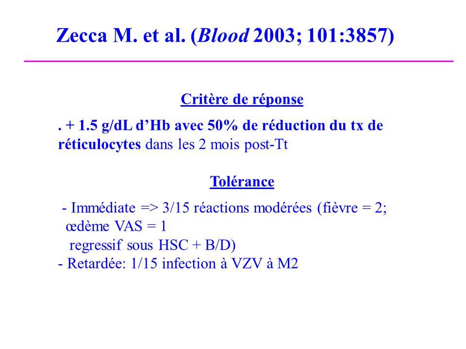 Zecca M. et al. (Blood 2003; 101:3857) Critère de réponse