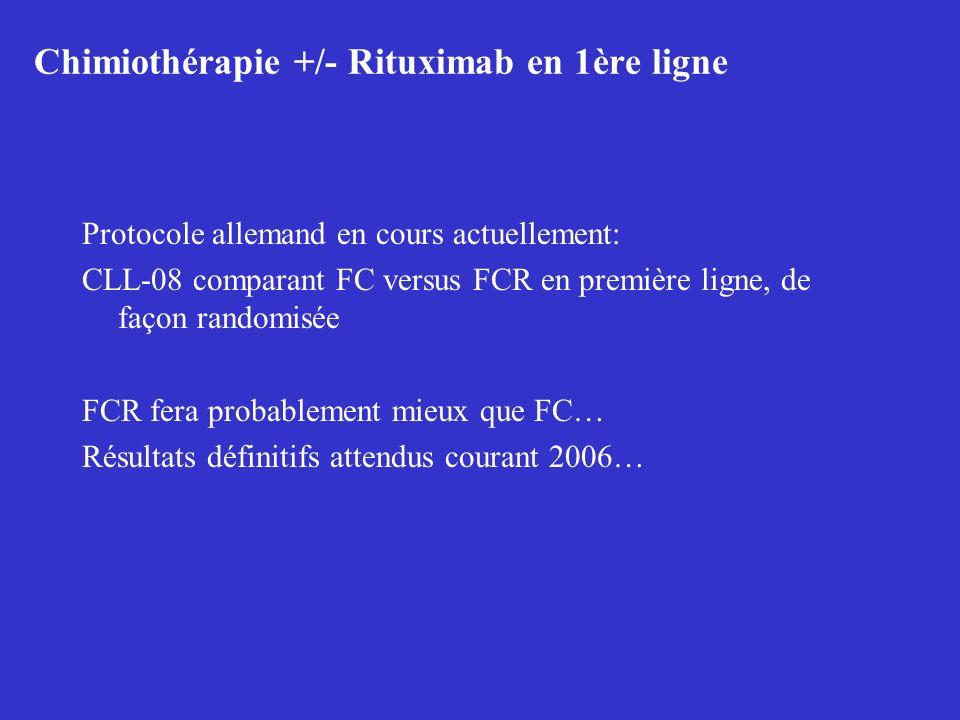 Chimiothérapie +/- Rituximab en 1ère ligne