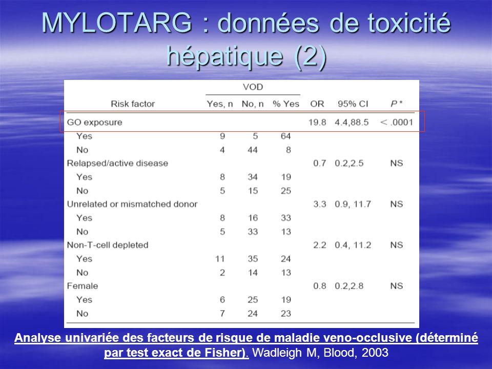 MYLOTARG : données de toxicité hépatique (2)