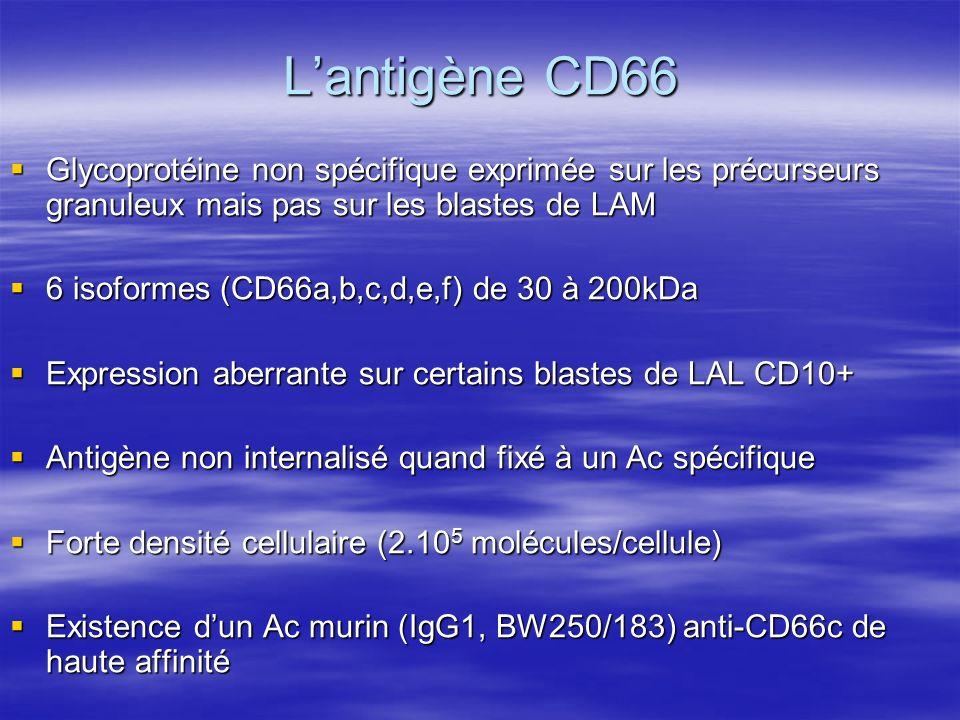 L'antigène CD66 Glycoprotéine non spécifique exprimée sur les précurseurs granuleux mais pas sur les blastes de LAM.
