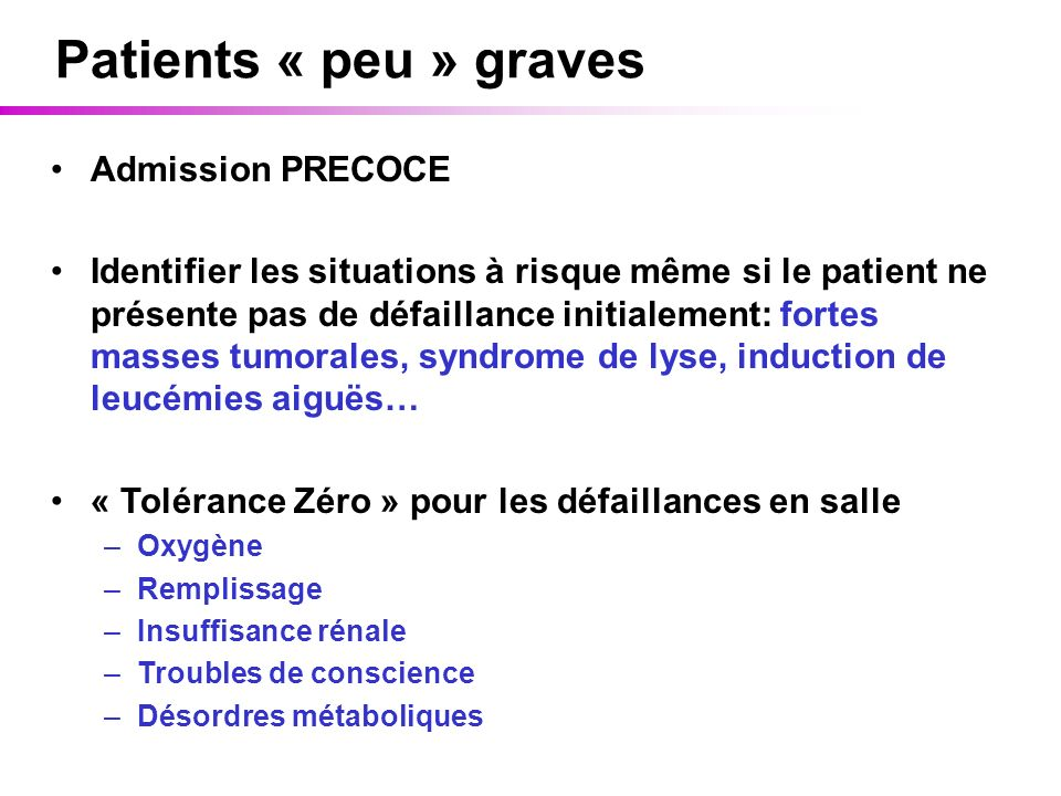 Patients « peu » graves Admission PRECOCE
