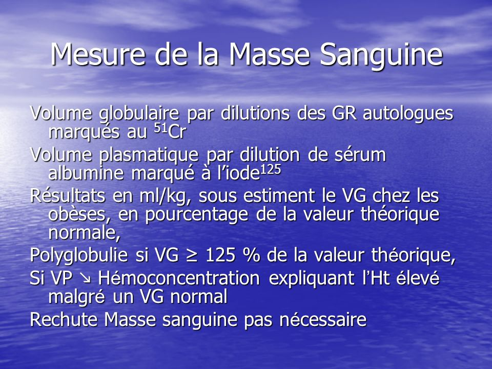 Mesure de la Masse Sanguine