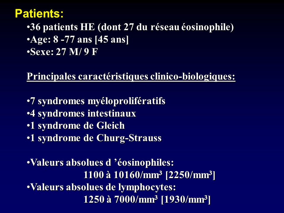 Patients: 36 patients HE (dont 27 du réseau éosinophile)