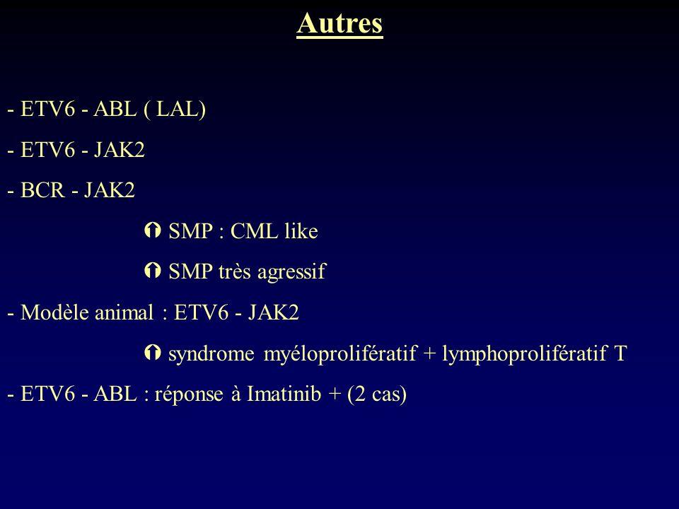 Autres - ETV6 - ABL ( LAL) - ETV6 - JAK2 - BCR - JAK2  SMP : CML like