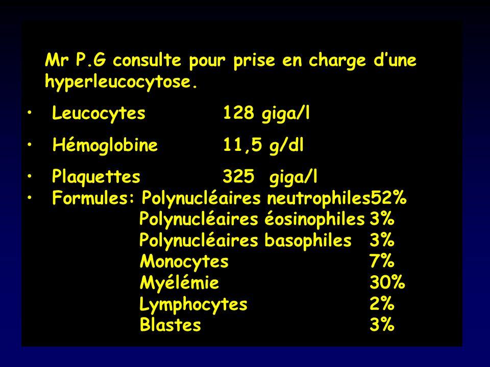 Mr P.G consulte pour prise en charge d'une hyperleucocytose.