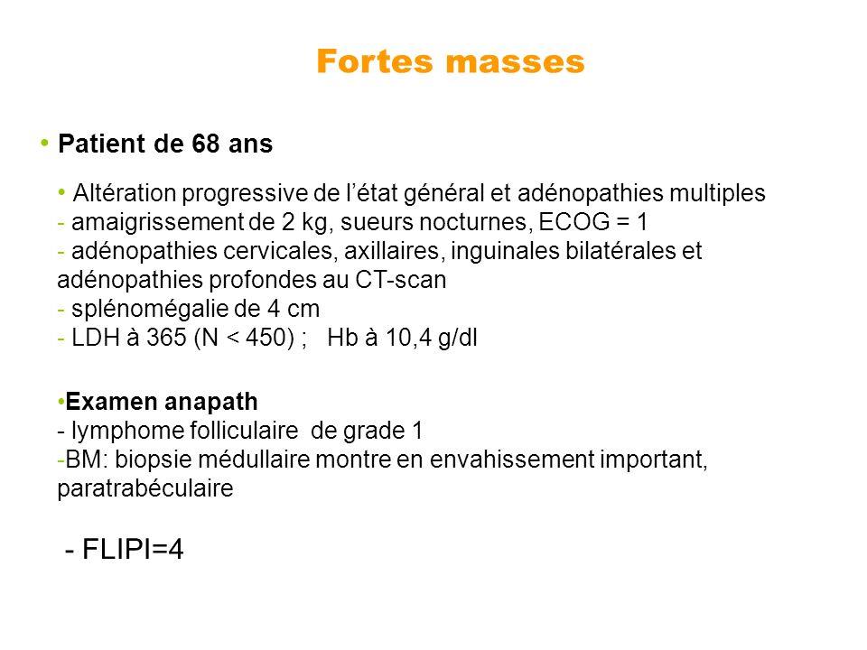 Fortes masses Patient de 68 ans - FLIPI=4